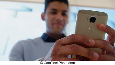 Man using mobile phone 4k - Close-up of man using mobile...