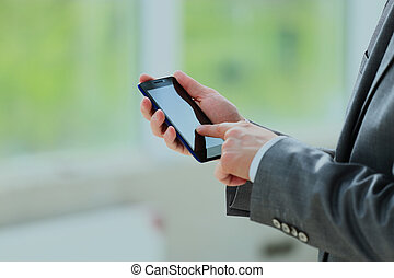 man using mobile phone.