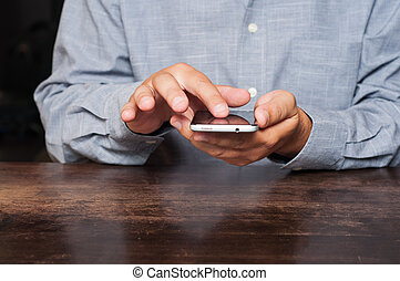 Man using mobile smart phone
