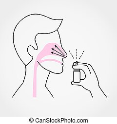 Man using nasal spray simple flat vector illustration on grey background.