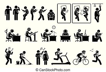 Man using phone and listening to earphone in different poses stick figures pictogram.