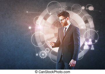 Man using phone with business chart