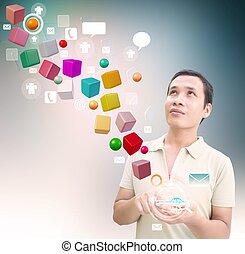 Man Using Smart Phone 3D Cube