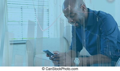 Man using smartphone and data