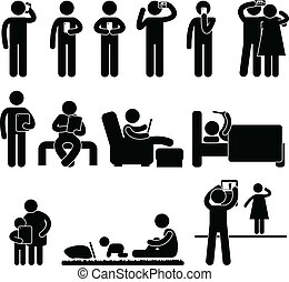 A set of pictogram representing people using smartphone and tablet.