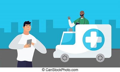 man using smartphone with healthcare online and ambulance ,4k video animated