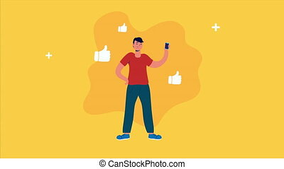 man using smartphone with social media icons
