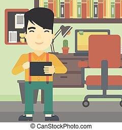 Man using tablet computer vector illustration.