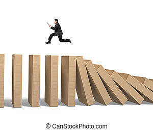 Man using tablet running on falling wooden dominoes