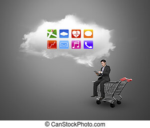 Man using tablet sitting on shopping cart with white cloud