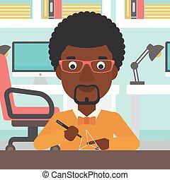 Man using three D pen vector illustration.