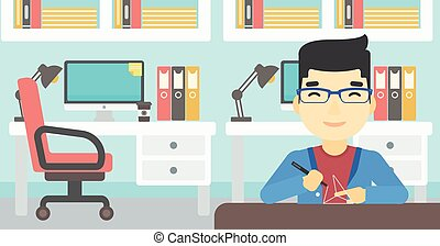 Man using three D pen vector illustration.
