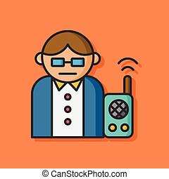 man using tool walkie vector icon