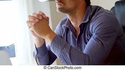 Man using virtual reality headset 4k