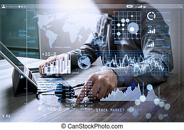 Investor analyzing stock market report and financial dashboard with business intelligence (BI), with key performance indicators (KPI).Man using VOIP headset with digital tablet computer docking smart keyboard.