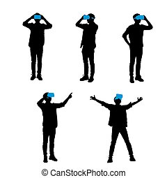 man using VR headset - Silhouette of happy man getting ...
