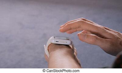 Man using wearable smart watch