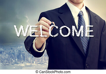 man, välkommen, affär, skrift