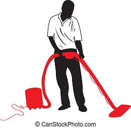 man vacuuming - a silhouette man vacuuming