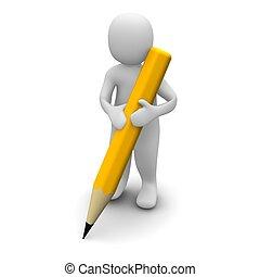man, vasthouden, pencil., 3d, gereproduceerd, illustration.