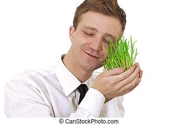 man, vasthouden, plant, kleine