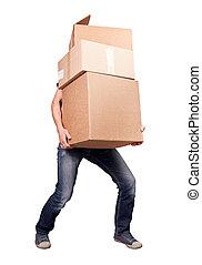 man, vasthouden, zware, kaart, dozen, vrijstaand, op wit