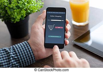 man, vasthoudende telefoon, met, app, online, op, de, scherm