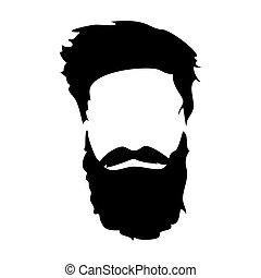 man., vecteur, arrière-plan., longs cheveux, barbu, barbe, isolé, mode, blanc, hipster, facial, set., détaillé, illustration, barbes, eps10