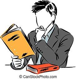 man, vector, boek, illustratie, lezende