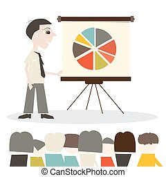 Man Vector Cartoon Illustration on Presentation or Meeting