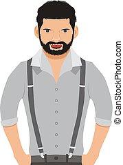 Man vector illustration, cartoon, icon, face