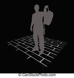 man vector silhouette on brick vector