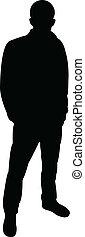 man, vector, staand, silhouette