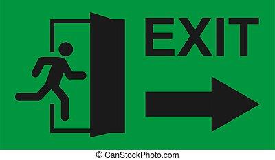 man, veiligheid, pictogram, rennende , teken., deur, ontsnapping, afslaf, helpen, evacuatie, symbool., vector