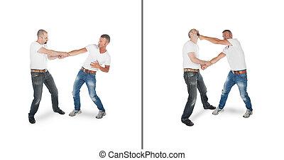 man, verdedigen, tegen, wristgrab