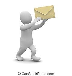 man, verdragend, enveloppe, met, letter., 3d,...
