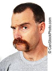 man, verheffing, mustache, wenkbrauw, een