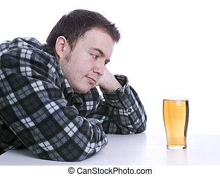 man, verleide, door, alcohol