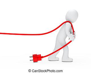 man, verlekkeert, een, kabel