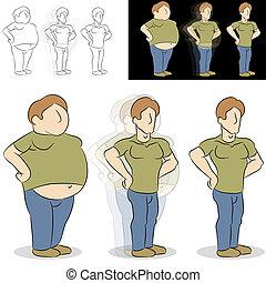 man, verliezend gewicht, transformatie