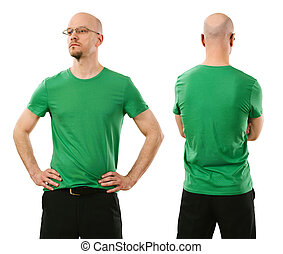 man, vervelend, leeg, groen hemd