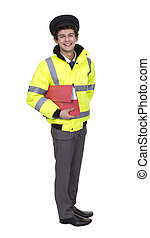 man, vervelend, veiligheid, jas, vasthoudende folder