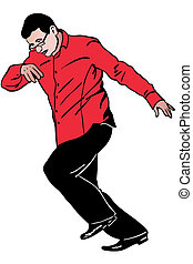 man very hurries in a red shirt and glasses