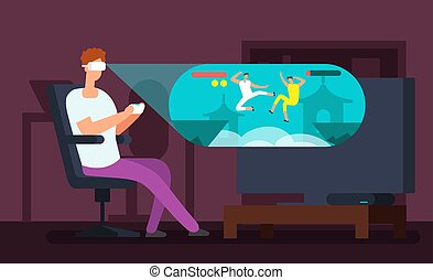 Man videogamer sitting in armchair and playing virtual game using vr headset vector illustration