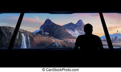 Man Views Futuristic Colony On Barren Planet - Man walks...