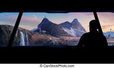 Man Views Futuristic Space Colony