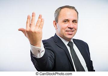 man, vijf, op, vingers