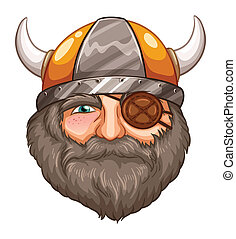 Man Viking - Illustration of a male viking with eyepatch