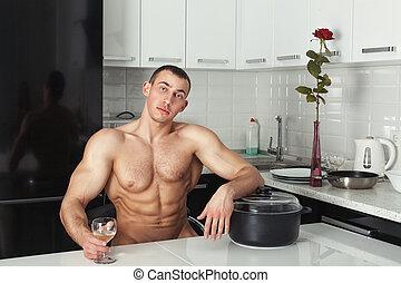 man, vila, in, den, kitchen.