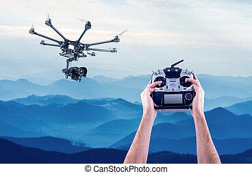 man, vliegen, controles, drones